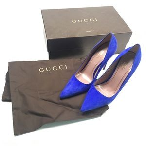 Gucci Blue Suede Wedding Heels Pumps Sexy 37.5